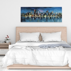 Canvas 16 x 48 - Abstract blue cityscape by night
