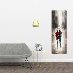 Canvas 16 x 48 - Quiet walk in couple in the rain