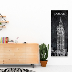 Canvas 16 x 48 - Big ben sketch with a map in background