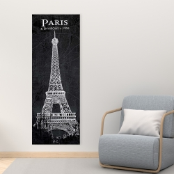 Canvas 16 x 48 - Eiffel tower sketch with a map in background