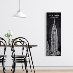 Canvas 16 x 48 - Chrystler tower sketch with a map in background