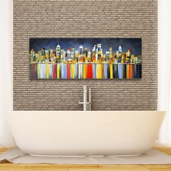 Canvas 16 x 48 - Colorful reflection of a cityscape by night