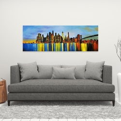 Canvas 16 x 48 - City by night with a bridge