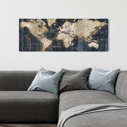 Toile 16 x 48 - Carte du monde vintage