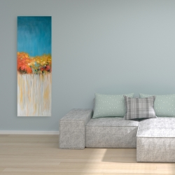 Canvas 16 x 48 - Colorful abstract flowers on a grey background