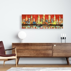 Canvas 16 x 48 - Red abstract skyline
