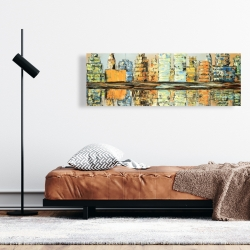 Canvas 16 x 48 - Reflections of a colorful city