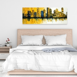 Canvas 16 x 48 - Yellow abstract skyscrapers