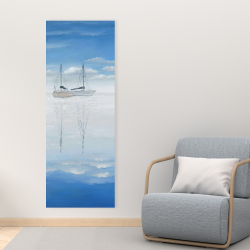 Canvas 16 x 48 - Two sailboats on the quiet lake