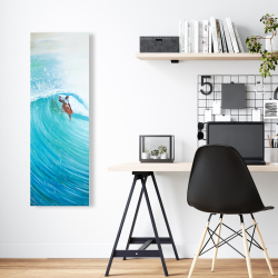 Canvas 16 x 48 - Surfer in the middle of the wave