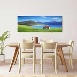 Canvas 16 x 48 - Scottish highlands with a little red roof house