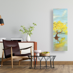 Canvas 16 x 48 - Spring lanscape with a tree in a lake