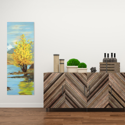 Canvas 16 x 48 - Lake landscape with a tree and reflection