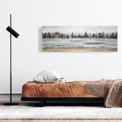 Canvas 16 x 48 - Fall rainy day landscape with trees