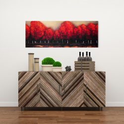 Canvas 16 x 48 - Red trees by a dark day