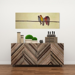 Canvas 16 x 48 - Five birds on a branch