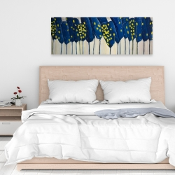 Canvas 16 x 48 - Abstract blue flowers
