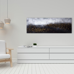 Canvas 16 x 48 - Two shades of gray with gold dots