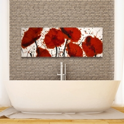 Canvas 16 x 48 - Abstract paint splash red flowers