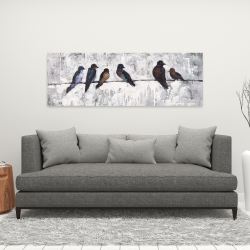 Canvas 16 x 48 - Colorful birds on branches