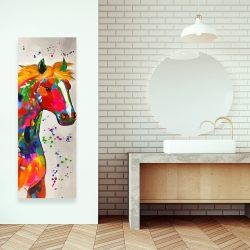 Canvas 16 x 48 - Abstract colorful horse with paint splash