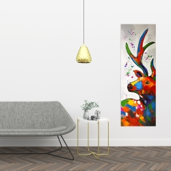 Canvas 16 x 48 - Abstract colorful deer with paint splash