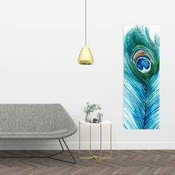 Canvas 16 x 48 - Long peacock feather