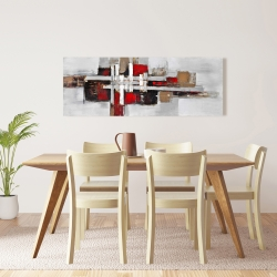 Canvas 16 x 48 - Abstract shapes with red accents