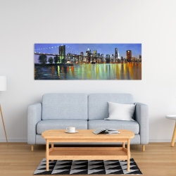 Canvas 16 x 48 - Colorful city with a bridge by night