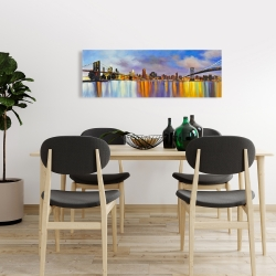 Canvas 16 x 48 - Colorful city with a bridge by day