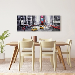 Canvas 16 x 48 - Abstract street with yellow taxis
