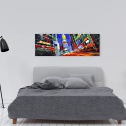 Canvas 16 x 48 - Colorful times square by night