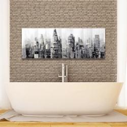 Toile 16 x 48 - Ville grise avec éclats de peinture