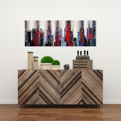 Canvas 16 x 48 - Abstract red and blue buildings