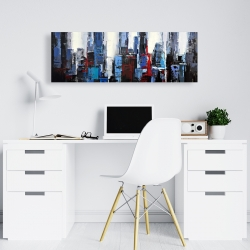 Canvas 16 x 48 - Abstract blue city