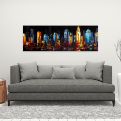 Canvas 16 x 48 - Colorful abstract cityscape on a dark background