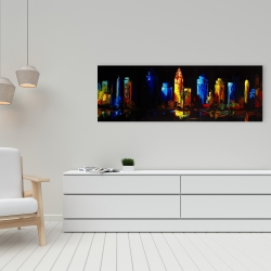 Canvas 16 x 48 - Colorful buildings on a dark background