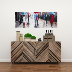 Canvas 16 x 48 - People with umbrellas in the street