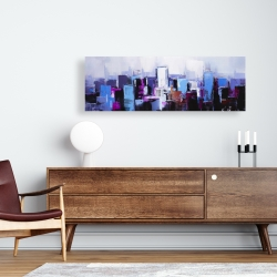 Canvas 16 x 48 - Abstract blue & purple city