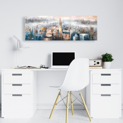 Canvas 16 x 48 - Cityscape of new york with the chrysler building