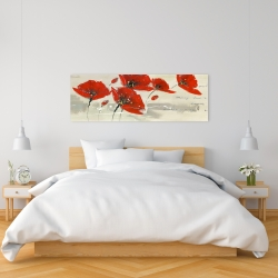 Canvas 16 x 48 - Abstract red flowers in the wind