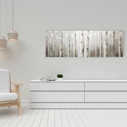 Toile 16 x 48 - Bouleaux blanc sur fond gris