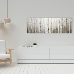 Canvas 16 x 48 - White birches on gray background