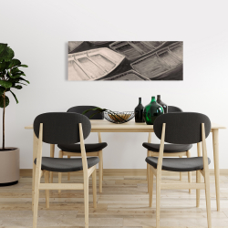 Canvas 16 x 48 - Small canoes of style sepia