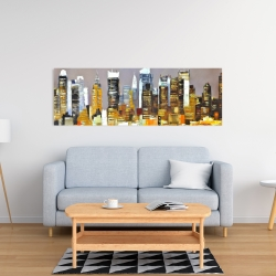 Canvas 16 x 48 - Texturized skyscrapers by night