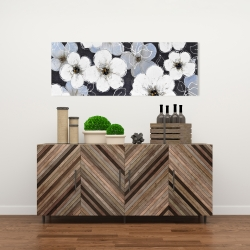 Canvas 16 x 48 - White flowers with leaves outlines