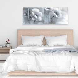 Canvas 16 x 48 - Peaceful black & white flowers