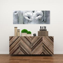 Canvas 16 x 48 - Grayscale flowers
