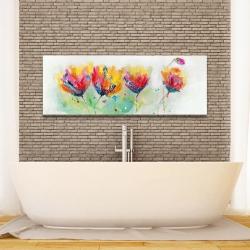 Canvas 16 x 48 - Four colorful flowers