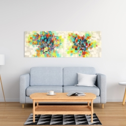 Canvas 16 x 48 - Flowers made of squares